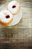 Fresh doughnuts with jam for Hanukkah Royalty Free Stock Photo