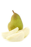 Fresh doyenne de comice pear and a cut one Royalty Free Stock Images