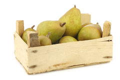 Fresh doyenne de comice pears in a wooden crate Royalty Free Stock Photography