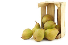 Fresh doyenne de comice pears in a wooden crate Stock Image