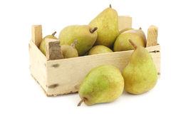 Fresh doyenne de comice pears in a wooden crate Royalty Free Stock Images
