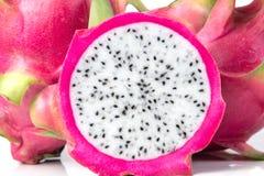 The Fresh Dragon fruit or Pitahaya fruit  isolated  on white  Royalty Free Stock Photography