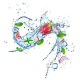 Fresh dragon fruit with water splash. Royalty Free Stock Images