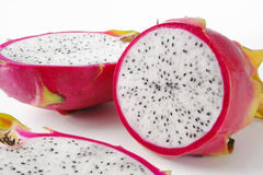 Fresh dragon fruit on the white background Stock Images