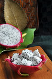 Fresh dragon fruit on wooden board Royalty Free Stock Photography
