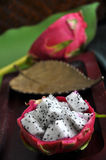 Fresh dragon fruit on wooden tray Royalty Free Stock Photos