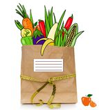 Fresh drawn  food in a paper bag Stock Photo