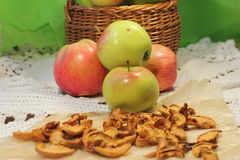 Fresh and dried apples Royalty Free Stock Images