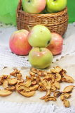 Fresh and dried apples Stock Photo