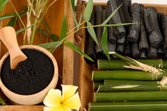 Fresh and dried bamboo and Bamboo charcoal powder. Fresh and dried bamboo and Bamboo charcoal powder, using a combination of personal care products such as soap Royalty Free Stock Photography
