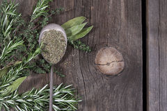 Fresh Dried Herbs Wood Background Royalty Free Stock Photos