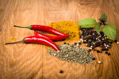 Fresh and dried hot chili peppers witn herbs Stock Photos