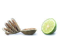 Fresh and Dried Kaffir Lime,  on white, food ingredient Stock Photo