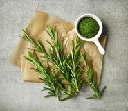 Fresh and dried rosemary Royalty Free Stock Photos