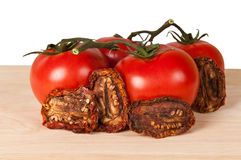 Fresh and dried tomatoes. On a wooden board Royalty Free Stock Photos