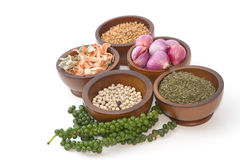Fresh and dries spices and flavorings Stock Photo