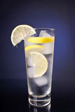Fresh drink. In blue background Royalty Free Stock Photo