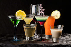 Fresh drink cocktail. Summer drink and cocktail in front of black background Stock Image