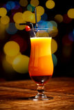 Fresh drink cocktail. On a color background blur bokeh Royalty Free Stock Image