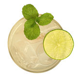 Fresh drink cocktail with mint and lime top view isolated on whi Royalty Free Stock Photo