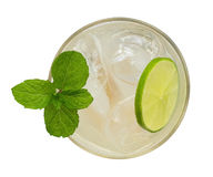 Fresh drink cocktail with mint and lime top view isolated on whi. Te background Stock Photography