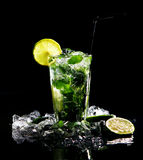 Fresh drink with green lime Royalty Free Stock Photography