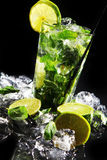 Fresh drink with green lime Royalty Free Stock Photo