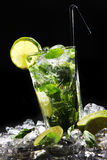 Fresh drink with green lime Stock Photo