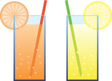Fresh drink illustration. Fresh drinks vector illustration. Orange and lemon drink with a drinking straw and a slice of fruit Stock Photography
