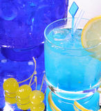 Fresh drink with lemon. Straw and ice cubes Stock Photos