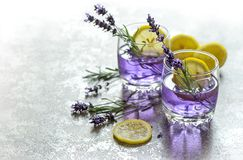 Fresh drink lemon lavender flowers summer lemonade Royalty Free Stock Photo