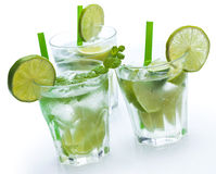 Fresh drink with lime and mint. On white background Stock Photo