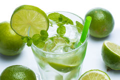 Fresh drink with lime and mint Stock Photo