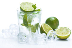 Fresh drink with lime and mint Stock Photos
