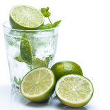 Fresh drink with lime and mint Stock Images