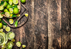 Fresh drink with lime slices. Royalty Free Stock Image