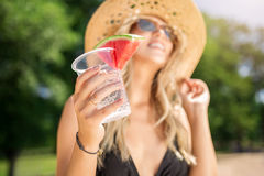Fresh drink with watermelon Stock Images