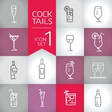 Fresh Drinks and cocktail geometry modern Vector icons set. Cocktail icon, set od vector illustration icon and symbols Stock Image