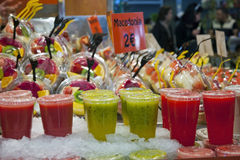 Fresh drinks for sell. Fresh drinks and juice to sell in La Boqueria market Royalty Free Stock Image