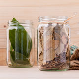 Fresh and dry bay leaves in  bowl Stock Photography