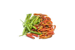 Fresh & dry chilli. Chili peppers isolated on a white background Stock Photos