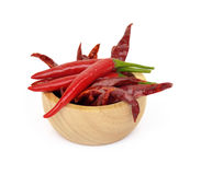 Fresh and dry red  chilli and chopped fresh red  chilli on woode Stock Photography
