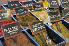 Fresh dry spices on display at the market Stock Image