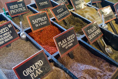 Fresh dry spices on display at the market Royalty Free Stock Photography