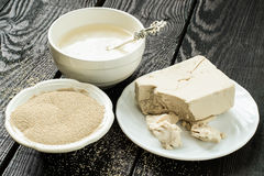 Fresh and dry yeast, yeast starter Stock Images