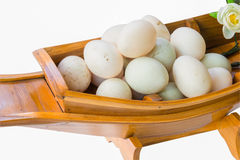 Fresh duck eggs on boat Royalty Free Stock Photos