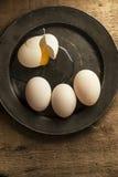 Fresh duck eggs in moody vintage retro style natural lighting se. Fresh duck eggs in moody vintage style natural lighting set up Stock Image