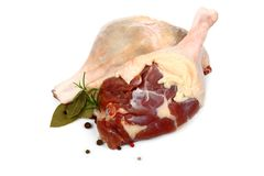 Fresh duck leg with spices and bay leaf Stock Images