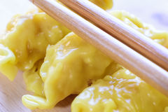 Fresh dumpling on plate with hot steams. Close up fresh dumpling on plate with hot steams Royalty Free Stock Photography