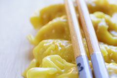 Fresh dumpling on plate with hot steams. Close up fresh dumpling on plate with hot steams Royalty Free Stock Photo